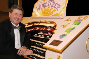 Lance Luce, acclaimed theatre organist, with the PATOS Wurlitzer.